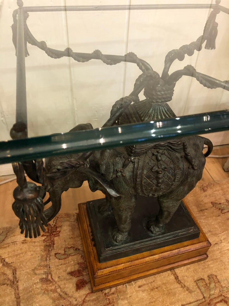 Sensational Black Patinated Bronze Elephant Motife Side Table For Sale 2
