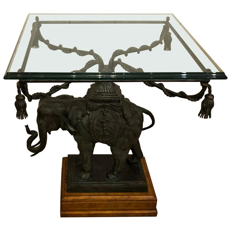 Sensational Black Patinated Bronze Elephant Motife Side Table For Sale