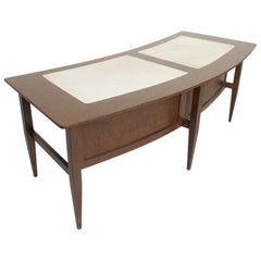 Sensational & Fabulous Curved Mahogany Desk Tapered Legs Goatskin Top 1960s Luxe