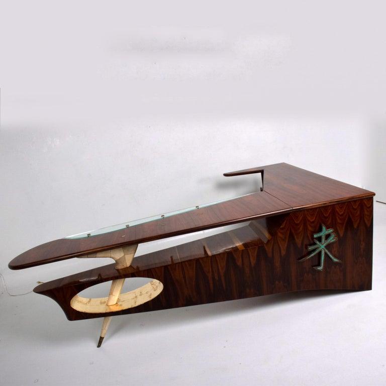Sensational Frank Kyle & Pepe Mendoza Exotic Desk Dry Bar Mexico Modernism 1950s For Sale 3