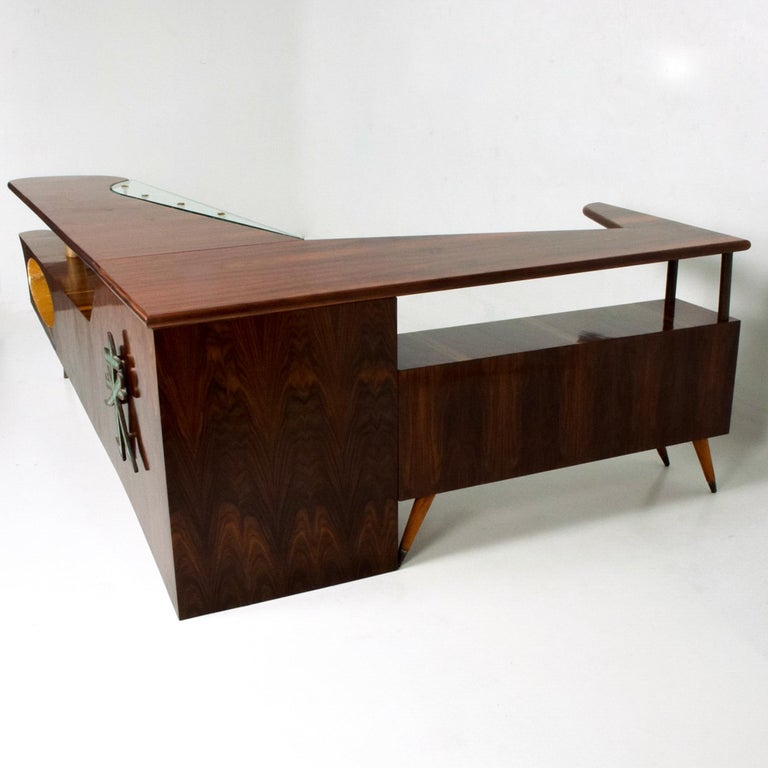 Sensational Frank Kyle & Pepe Mendoza Exotic Desk Dry Bar Mexico Modernism 1950s In Good Condition For Sale In National City, CA