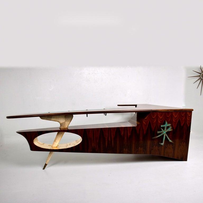 Sensational Frank Kyle & Pepe Mendoza Exotic Desk Dry Bar Mexico Modernism 1950s For Sale 2