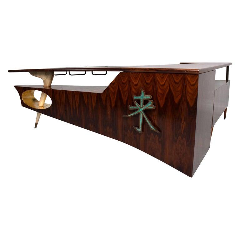 Sensational Frank Kyle & Pepe Mendoza Exotic Desk Dry Bar Mexico Modernism 1950s For Sale