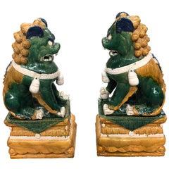 Sensational Huge Ceramic Pair of Chinese Foo Dog Sculptures