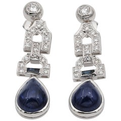 Sensational Late Art Deco Natural Sapphire and Diamond Ear Drops