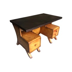 Sensational Leather Clad French Art Deco Desk