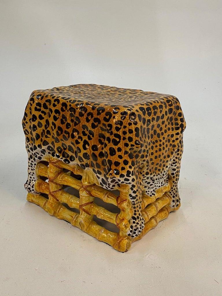 Mid-20th Century Sensational Leopard Print Italian Terracotta Garden Seat Drinks Table For Sale