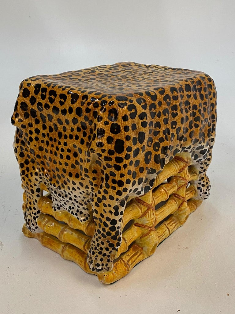 Sensational Leopard Print Italian Terracotta Garden Seat Drinks Table For Sale 3