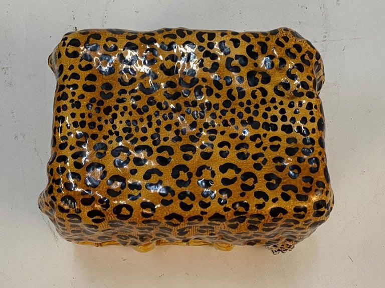 Sensational Leopard Print Italian Terracotta Garden Seat Drinks Table For Sale 4