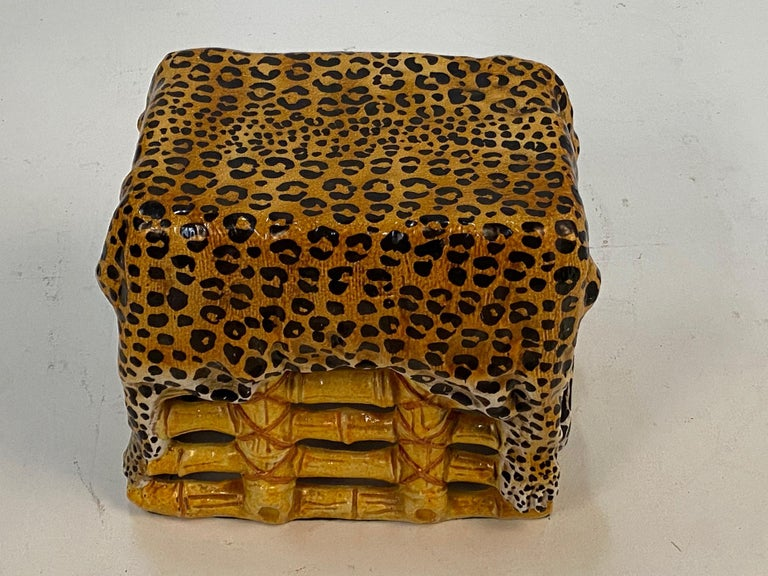 Sensational Leopard Print Italian Terracotta Garden Seat Drinks Table For Sale 5