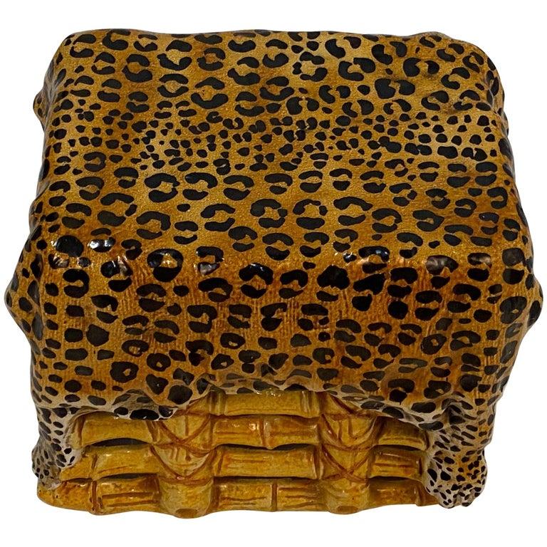 Sensational Leopard Print Italian Terracotta Garden Seat Drinks Table For Sale