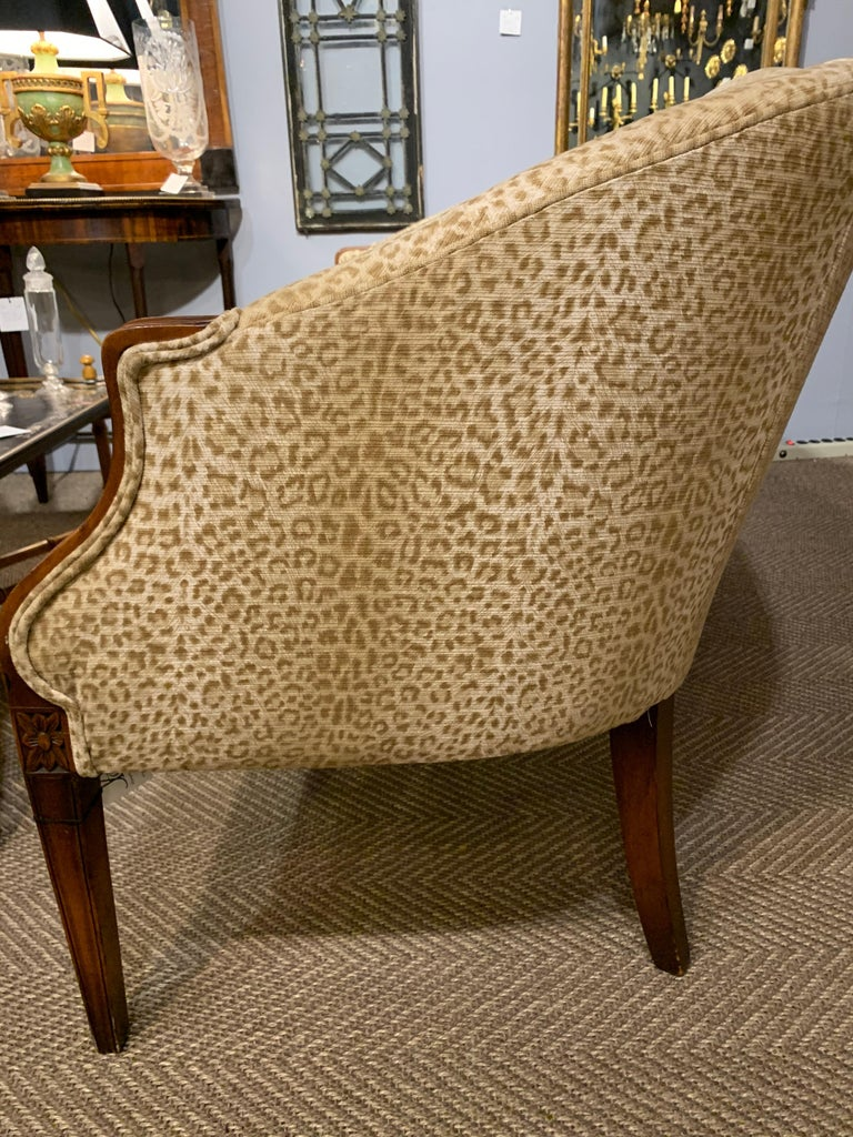 North American Sensational Mahogany and Animal Print Upholstered Sofa For Sale
