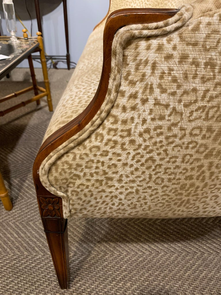 Sensational Mahogany and Animal Print Upholstered Sofa For Sale 2