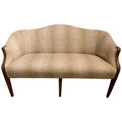 Sensational Mahogany and Animal Print Upholstered Sofa