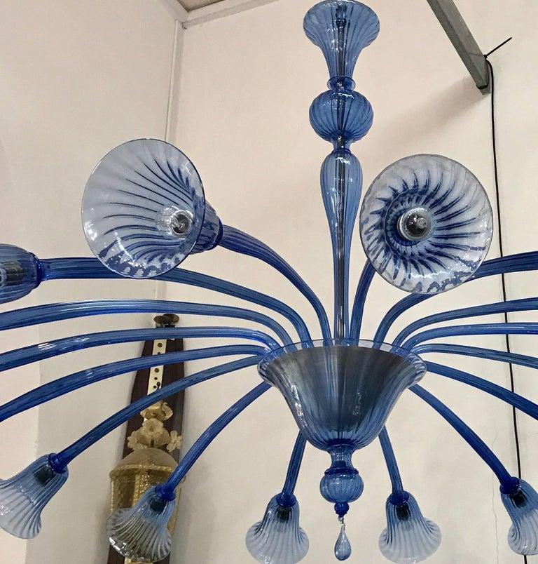 Early 20th Century Sensational Original Venini Chandelier with Light Blue Blown Glass, 1920 For Sale