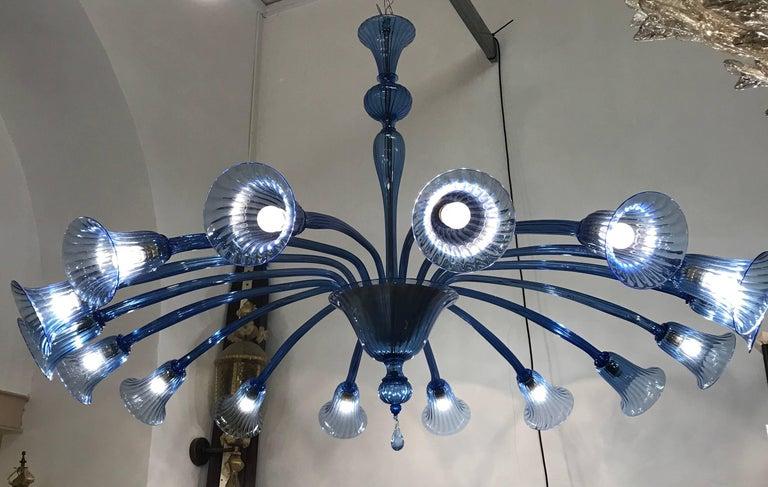 Sensational Original Venini Chandelier with Light Blue Blown Glass, 1920 For Sale 3