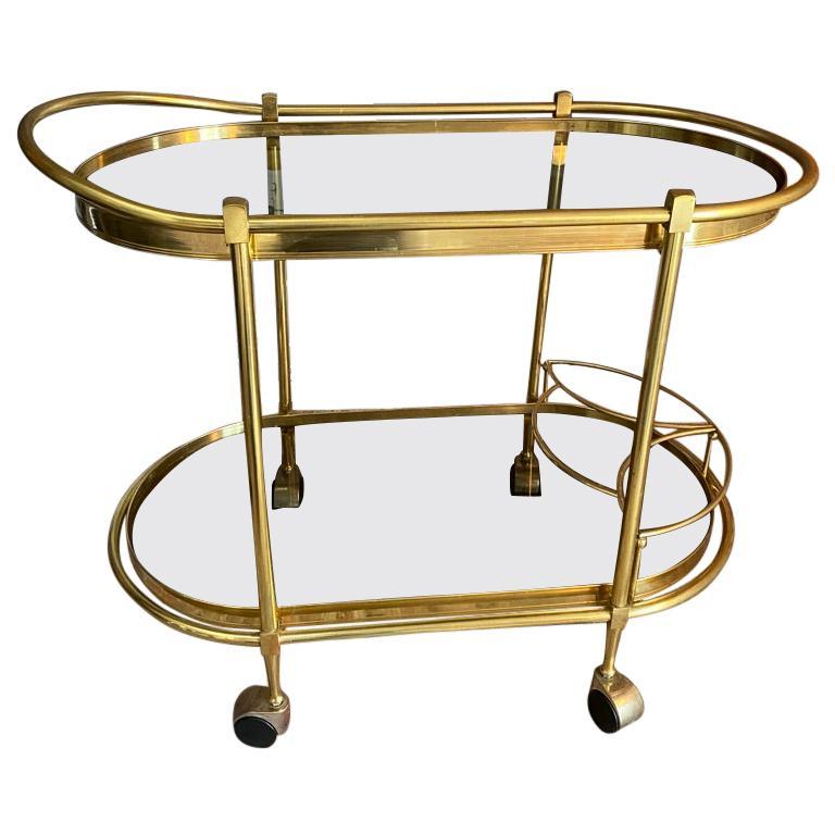 Sensational Oval Shaped Two-Tier Brass Italian Tea or Bar Cart 80's