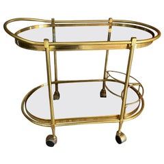 Sensational Oval Shaped Two-Tier Brass Italian Tea or Bar Cart 80's