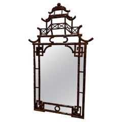 Sensational Pagoda Style Faux Tortoise Bamboo Mirror