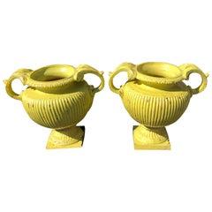 Sensational Pair of Bright Yellow Ceramic Vintage Handled Planter Jardinières