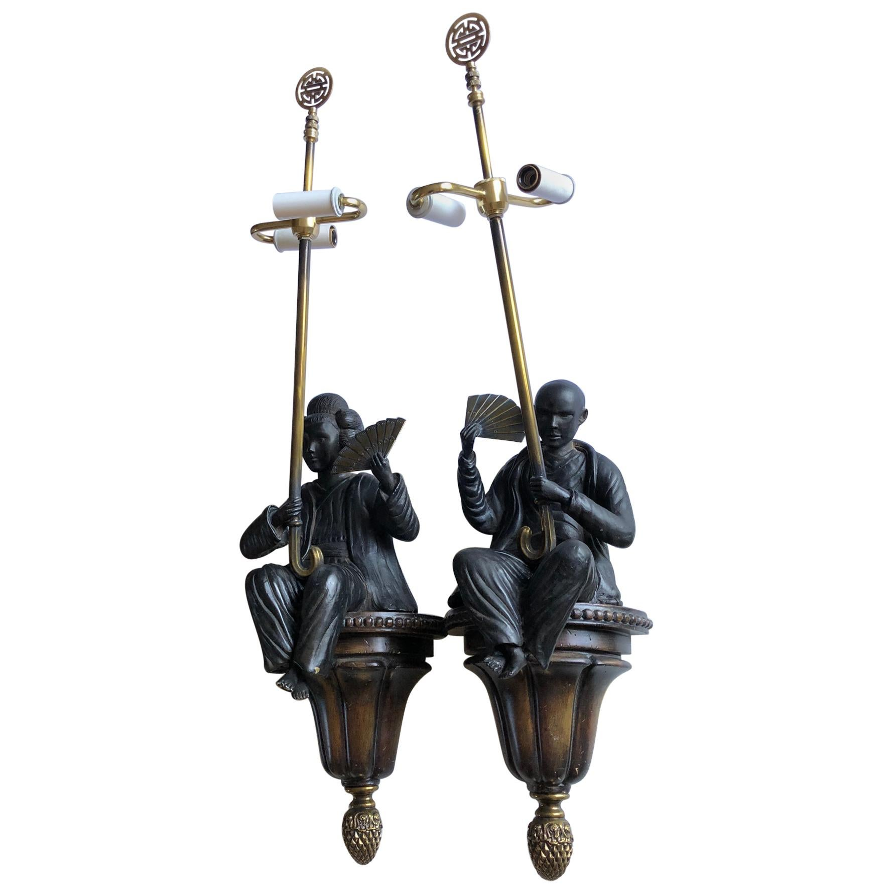 Sensational Pair of Bronze Asian Figural Wall Sconces