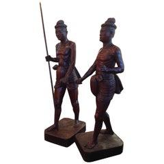Sensational Pair of Edwardian Era Carvings of Tribesmen