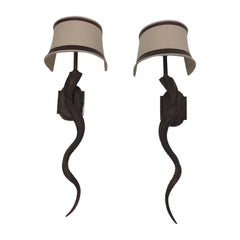 Sensational Pair of Very Tall Elongated Faux Horn Wall Sconces