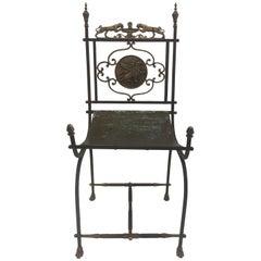 Sensational Sculptural Neoclassical Oscar Bach Iron and Brass Chair