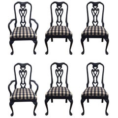 Sensational Set of Six Lacquered and Gingham Upholstered Dining Chairs