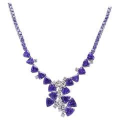 Tanzanite Burst and Diamond 18 Karat White Gold Necklace