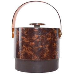 Sensational Tortoise Shell Lucite Ice Bucket Modern Flair Georges Briard, 1970s