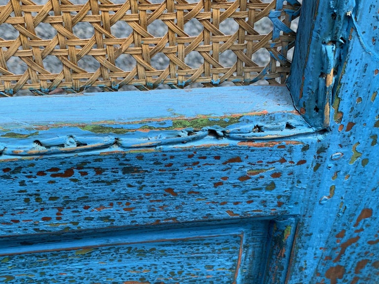 Sensational Turquoise Scrubbed Wood and Caned 3 Panel Screen For Sale 5