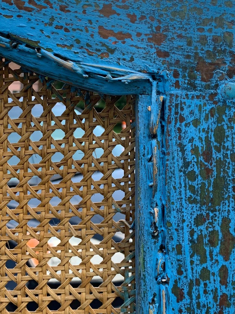 Sensational Turquoise Scrubbed Wood and Caned 3 Panel Screen For Sale 6
