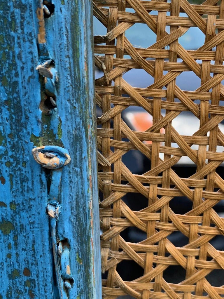 Sensational Turquoise Scrubbed Wood and Caned 3 Panel Screen For Sale 10