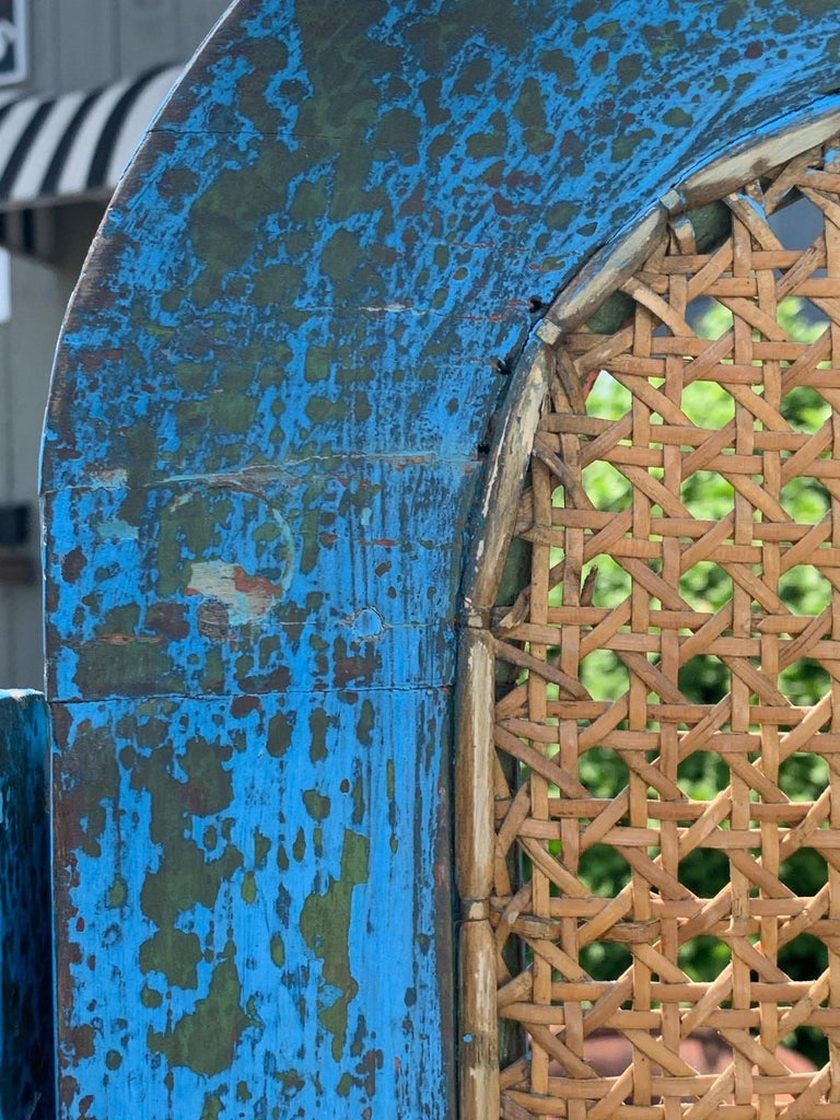 Sensational Turquoise Scrubbed Wood and Caned 3 Panel Screen For Sale 11