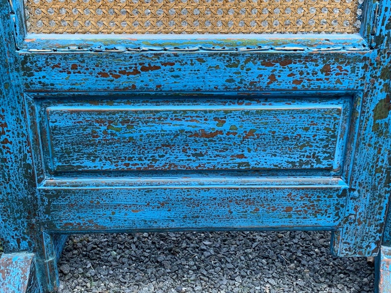 Sensational Turquoise Scrubbed Wood and Caned 3 Panel Screen For Sale 12