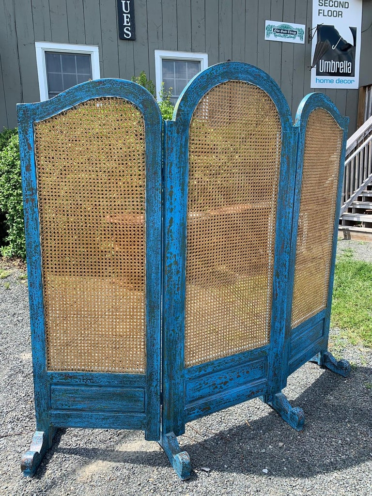French Sensational Turquoise Scrubbed Wood and Caned 3 Panel Screen For Sale