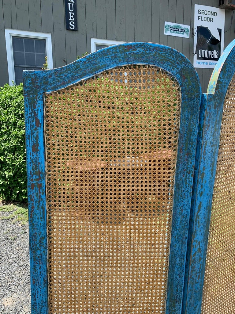 Sensational Turquoise Scrubbed Wood and Caned 3 Panel Screen For Sale 2