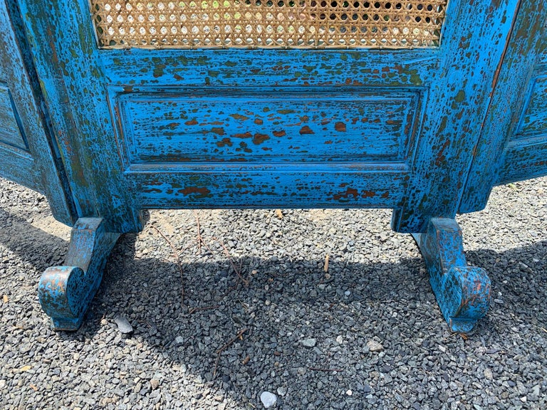 Sensational Turquoise Scrubbed Wood and Caned 3 Panel Screen For Sale 3