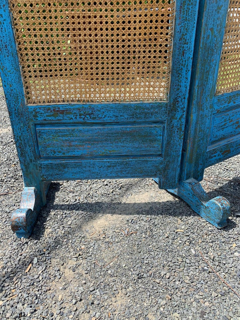Sensational Turquoise Scrubbed Wood and Caned 3 Panel Screen For Sale 4