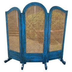 Sensational Turquoise Scrubbed Wood and Caned 3 Panel Screen