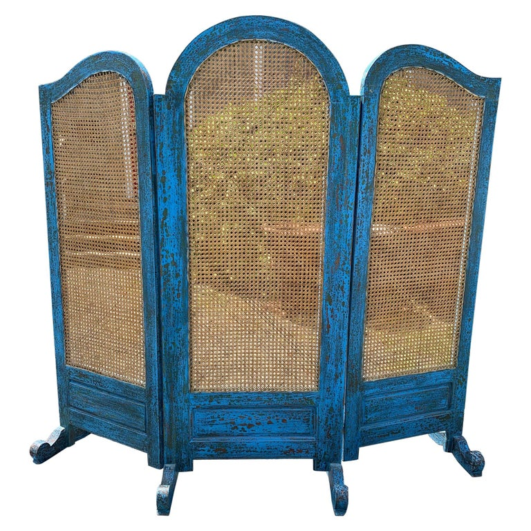Sensational Turquoise Scrubbed Wood and Caned 3 Panel Screen For Sale