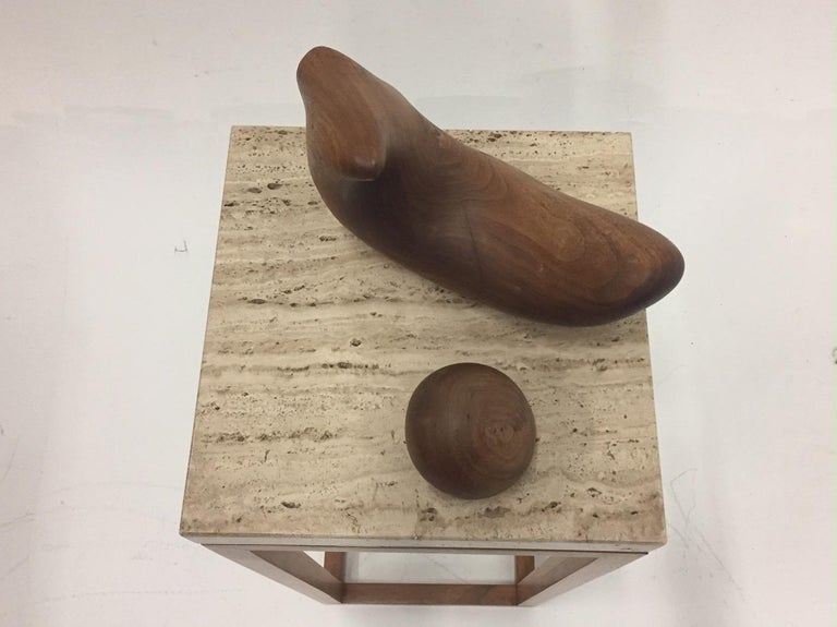 Sensual Abstract Walnut Sculpture on Travertine Base by Arthur Williams For Sale 4