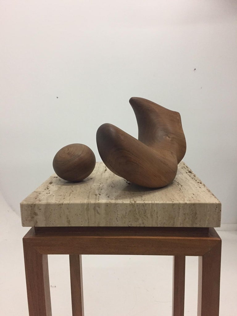 Sensual Abstract Walnut Sculpture on Travertine Base by Arthur Williams For Sale 6