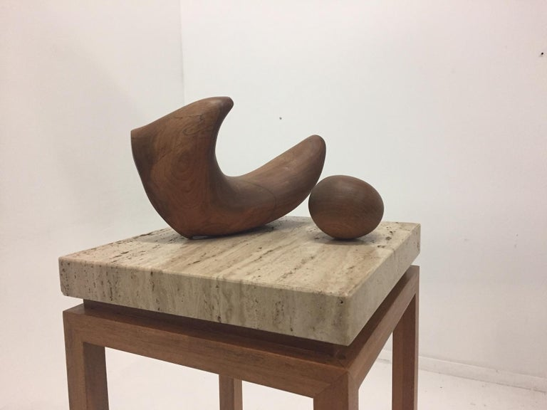 Modern Sensual Abstract Walnut Sculpture on Travertine Base by Arthur Williams For Sale