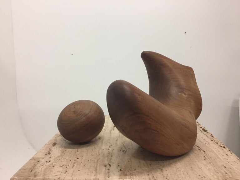 Sensual Abstract Walnut Sculpture on Travertine Base by Arthur Williams In Good Condition For Sale In Hopewell, NJ