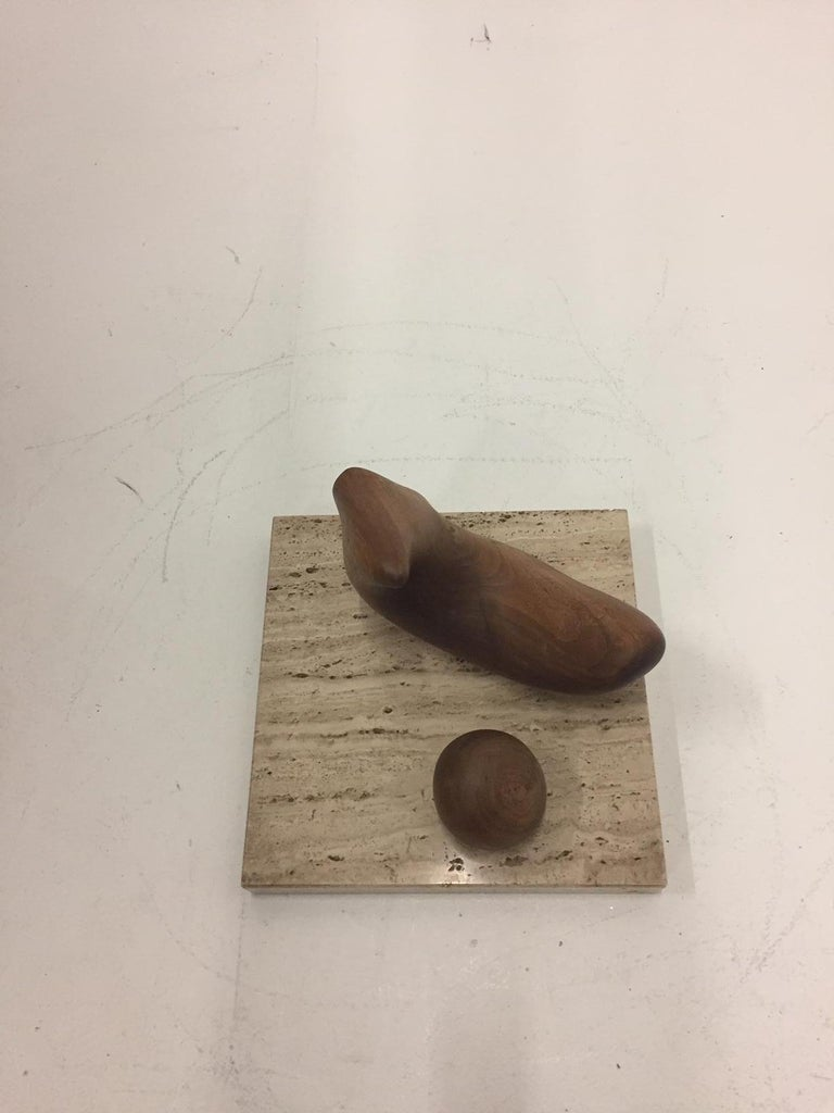 Late 20th Century Sensual Abstract Walnut Sculpture on Travertine Base by Arthur Williams For Sale