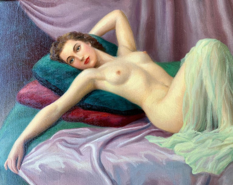 Exquisite and colorful original oil on canvas painting by 20th century French painter, Joan Mayor, from the 1940s, depicts a ravishing woman or pin-up girl with wavy brunette hair, sultry red lips and an expectant expression, lounging on a hunter
