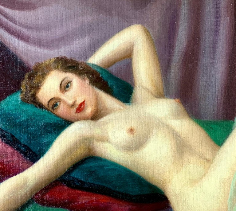 Art Deco Sensual Original French Painting 1940s Reclining Nude Pin-Up Girl by Joan Mayor For Sale