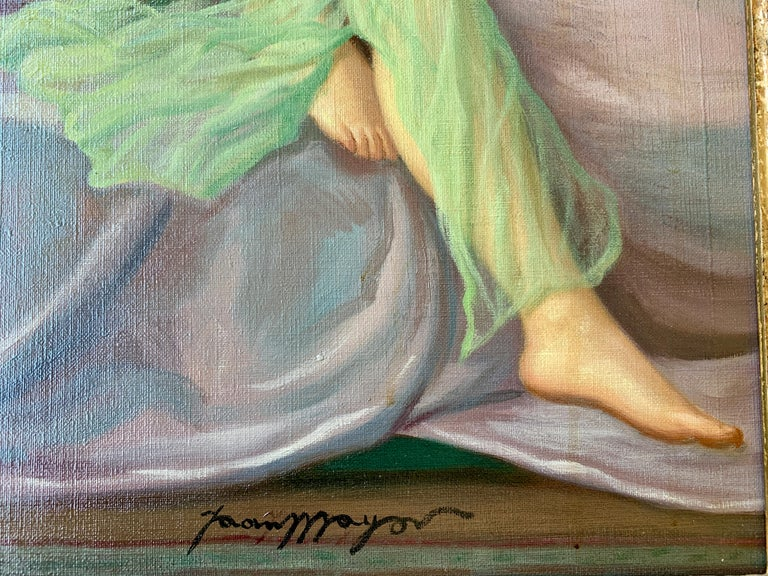 Hand-Painted Sensual Original French Painting 1940s Reclining Nude Pin-Up Girl by Joan Mayor For Sale